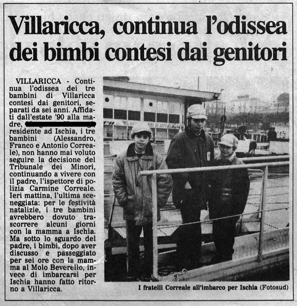 """Articolo su """"Il Mattino"""" del 28/12/1991"""